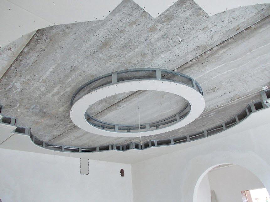 Монтаж двухуровневых гипсокартонных потолков